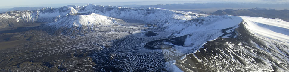 Aerial view of Aniakchak Caldera taken from northern rim