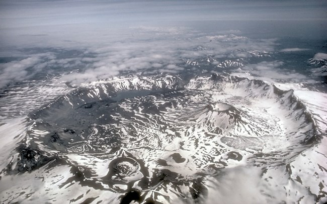 high altitude view of Aniakchak caldera