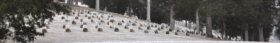 Wreaths in snow at Andrew Johnson National Cemetery