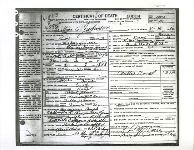 Will's death certificate