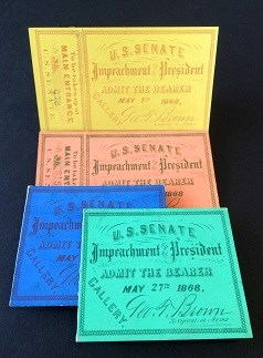 An arrangement of tickets to Andrew Johnson's impeachment trial