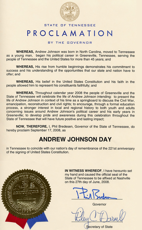 Andrew Johnson Day Proclamation