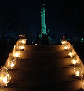 monument with luminaries