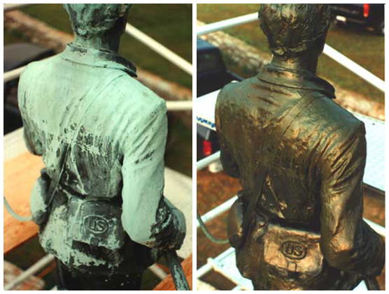 Before and after restoration of 100th Pennsylvania Infantry monument