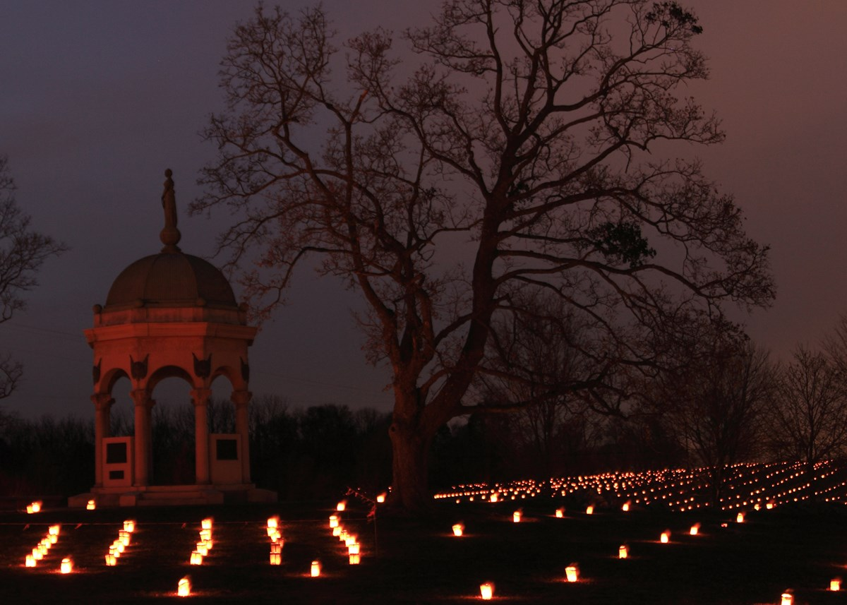 The Maryland Monument and luminaries