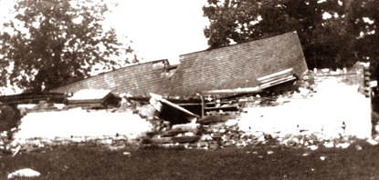 The Dunker Church was destroyed by a wind storm in 1921.