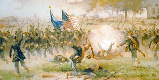 painting of Union soldiers charging
