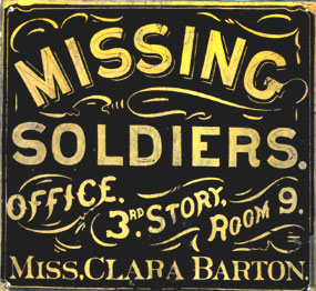 Sign at Clara Barton's office of missing soldiers in Washington D.C.