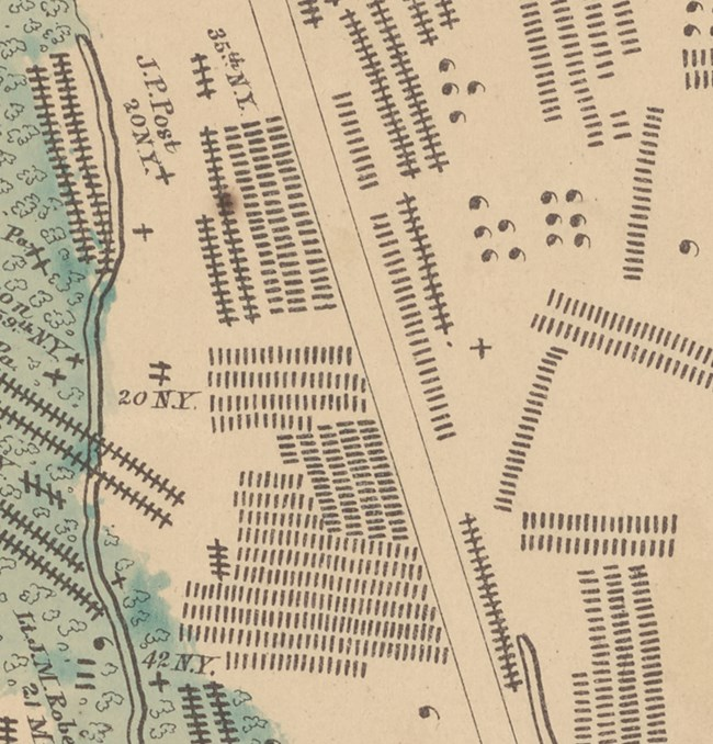 section of map showing burials on the field