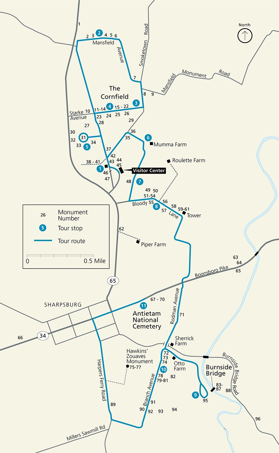 Map showing the location of ninety six monuments at Antietam National Battlefield