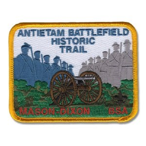 Scout Patch with cannon, Civil War soldier silhouettes, and text that reads Antietam Battlefield Historic Trail