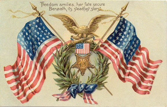 Old postcard with American Flags and wreaths