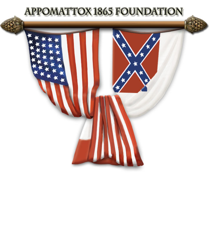 The logo for the Appomattox 1865 Foundation (Friends Group) features the U.S. 35-star flag intertwined with the 3rd National Confederate flag symbolizing the end of the nation's largest war.