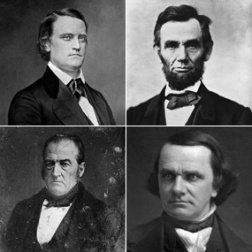 1860 Presidential candidates, top row, John Breckinridge and Abraham Lincoln, bottom row, John Bell and Stephen A. Douglas.