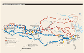 The Appomattox Campaign Map - Lee's Retreat Route, from Petersburg and Richmond to Appomattox Court House, Virginia.