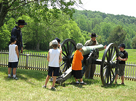 Kids learn teamwork while learning how a Civil War cannon was fired.
