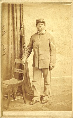 Though a Corporal when this image was made, John Peck of the 8th USCT was a Sergeant when he was present at Appomattox Court House on April 9, 1865.