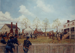 This Keith Rocco painting shows Gen. Lee exiting the yard of the McLean House after the meeting.