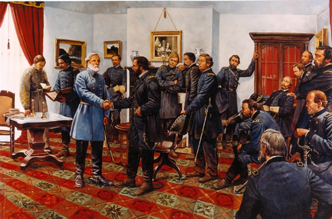 """The Surrender"" by Keith Rocco shows the known officers that were present for at least a portion of the meeting in the McLean Parlor, April 9, 1865."