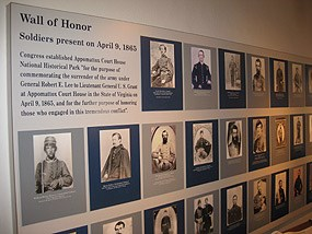 Stories of solider's from both North and South displayed in the Appomattox Court House visitor center
