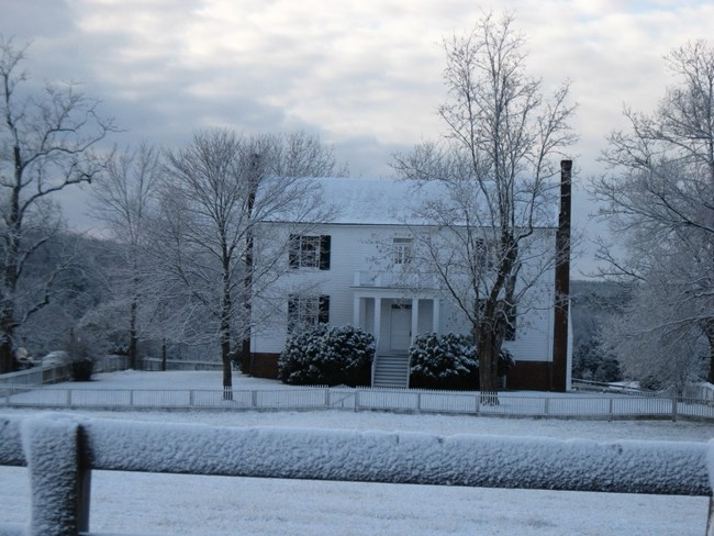 Winter scene of the Isbell House