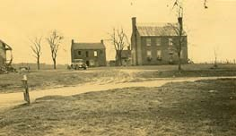 Center right - Clover hill Tavern ca. 1937.  The tavern is the site where parole passes were printed for the Army of Northern Virginia