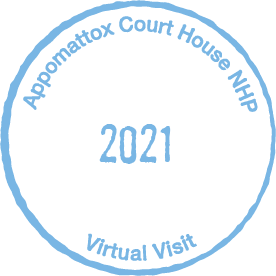 Blue circular passport stamp, with words Appomattox Court House National Historical Park 2021 Virtual Visit inside circle.