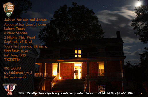 The McLean House after dark during the annual Lantern Tour, each September.