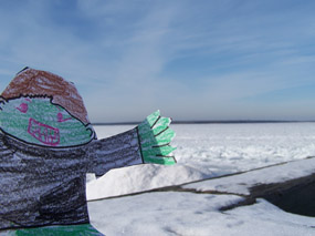 Flat Stanley hangin' out at Little Sand Bay