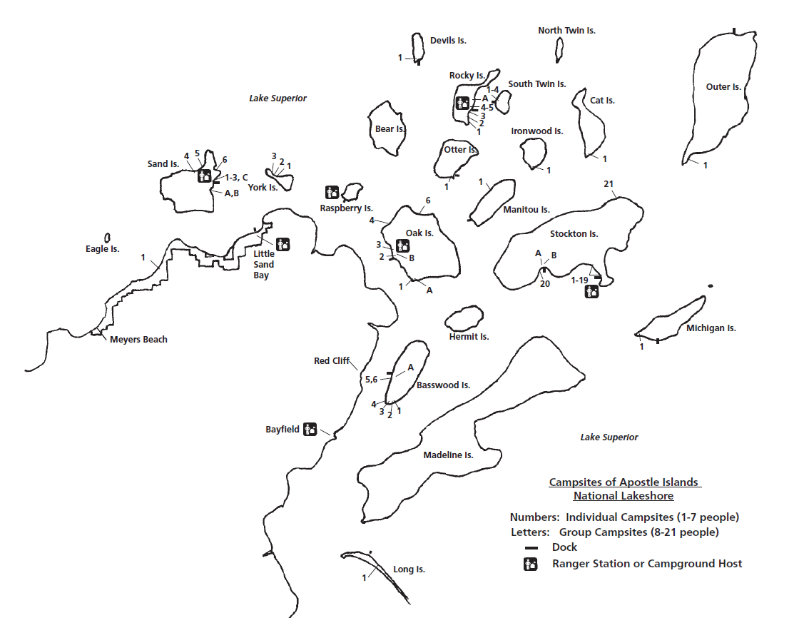 Map of campsite locations in Apostle Islands National Lakeshore.