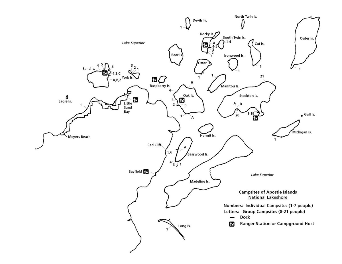 Map of campsite locations as described in the individual island links on this page.
