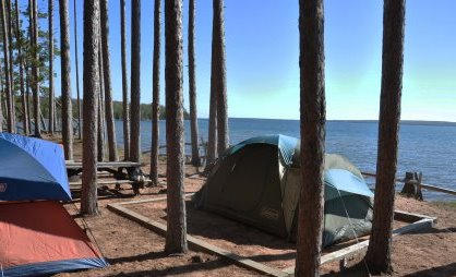 Two tents at campsite ten on Stockton Island, overlooking Lake Superior.