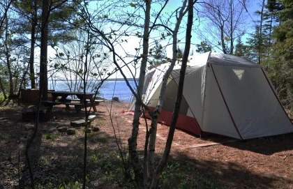 Six-person tent at Stockton Island, Presque Isle campsite five overlooking Lake Superior.
