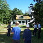 Visitors at Michigan Island get a tour of the Lightstation.