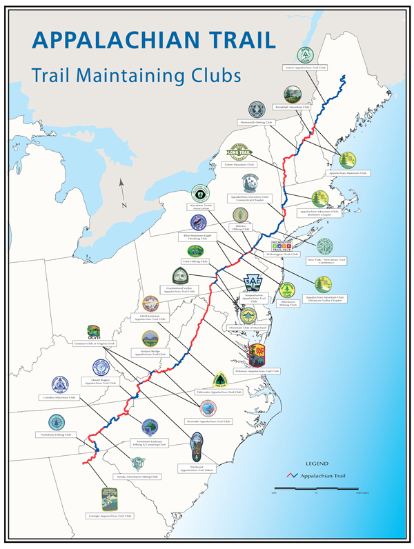 Partners Appalachian National Scenic Trail US National Park - Appalachian trail new hampshire map