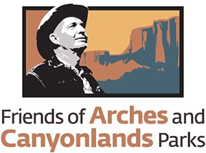 drawing of a man's face with cliffs in the background text reads friends of arches and canyonlands parks