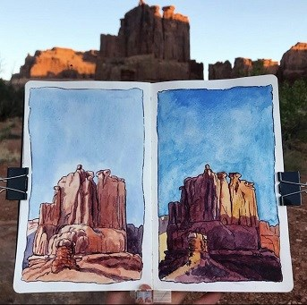 two watercolor illustrations of a sandstone butte