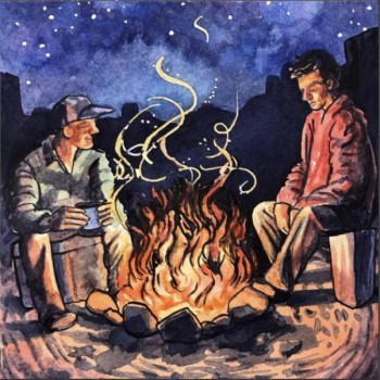 watercolor illustration of two men enjoying a campfire