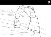 a line drawing of Delicate Arch