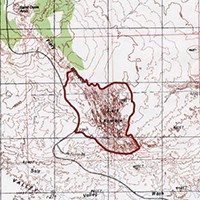 a topographic map with a red outline of the Fiery Furnace area