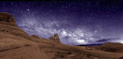 The night sky at Delicate Arch