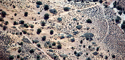 photo: Aerial view of road scars in Arches