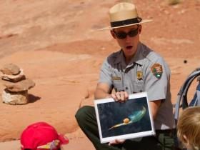 a park ranger showing a picture of an aquatic animal