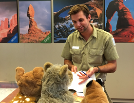 SCA intern, Martin welcomes junior rangers.