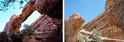 Wall Arch before (left) and after it collapsed.