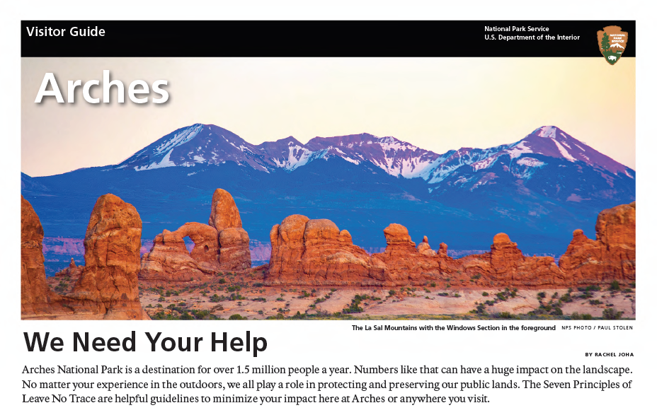 Cover of Arches National Park Newspaper