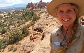 smiling SCA intern on Windows primitive trail