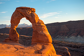 Delicate Arch with the La Sal Mountains in the background