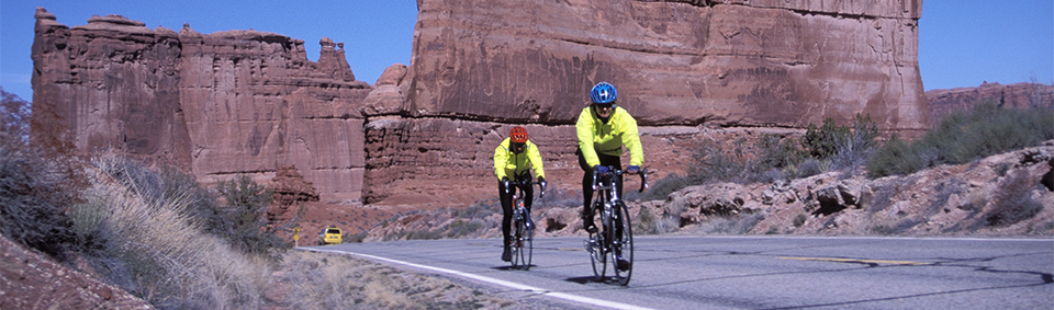 two cyclists in bright yellow jackets ride on a paved road