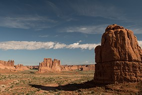A view of massive sandstone monoliths